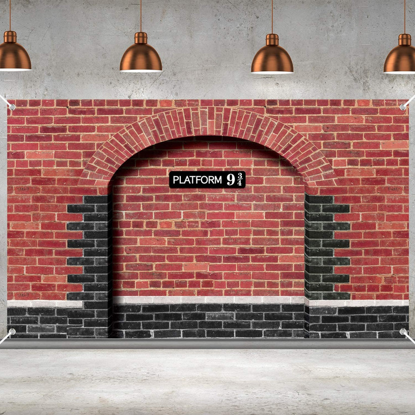 faux brick wall tapestry platform 9 3/4 train station wall decoration