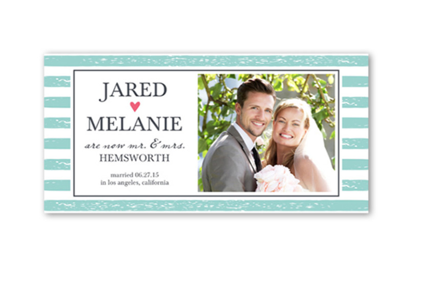 striped wedding announcement