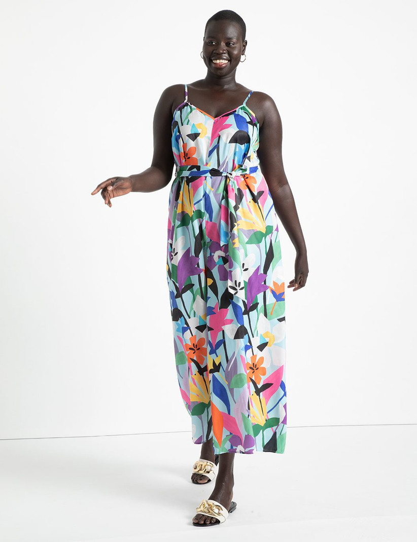 Colorful tropical print jumpsuit for summer wedding