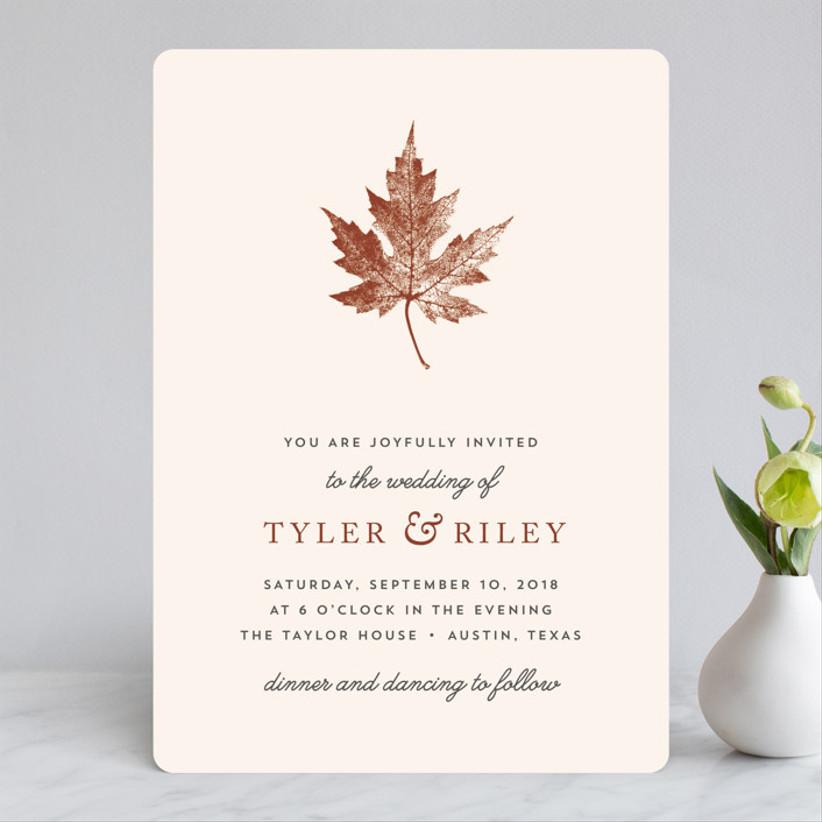 leaf fall wedding invitation
