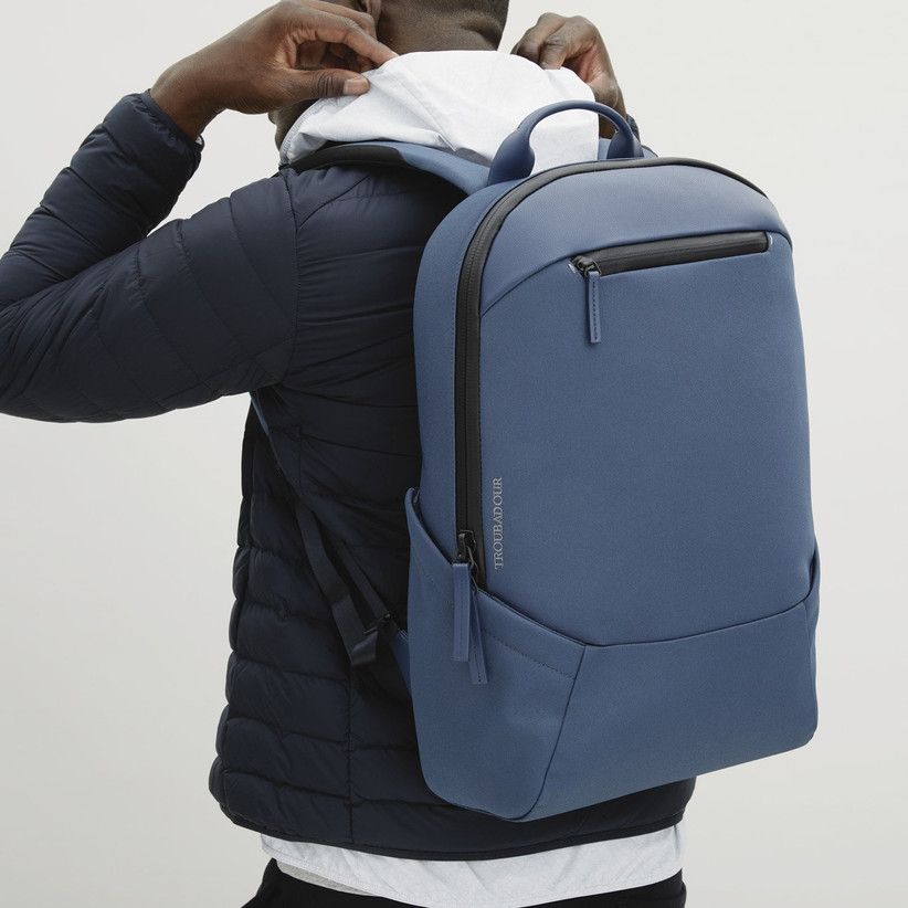 Sleek blue backpack 18th anniversary gift for spouse
