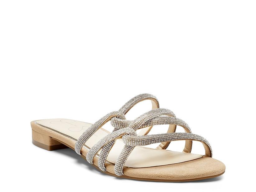 flat beaded wedding sandal with three interlocking straps in gold and silver rhinestones