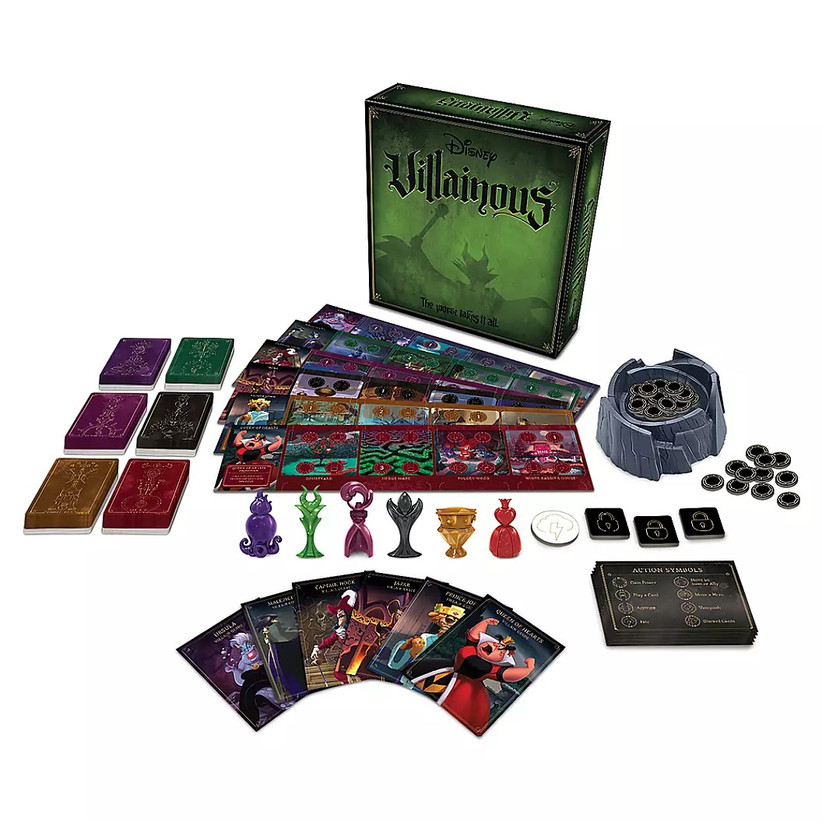 Disney Villainous board game showing character cards, different decks, playing pieces, and realm boards
