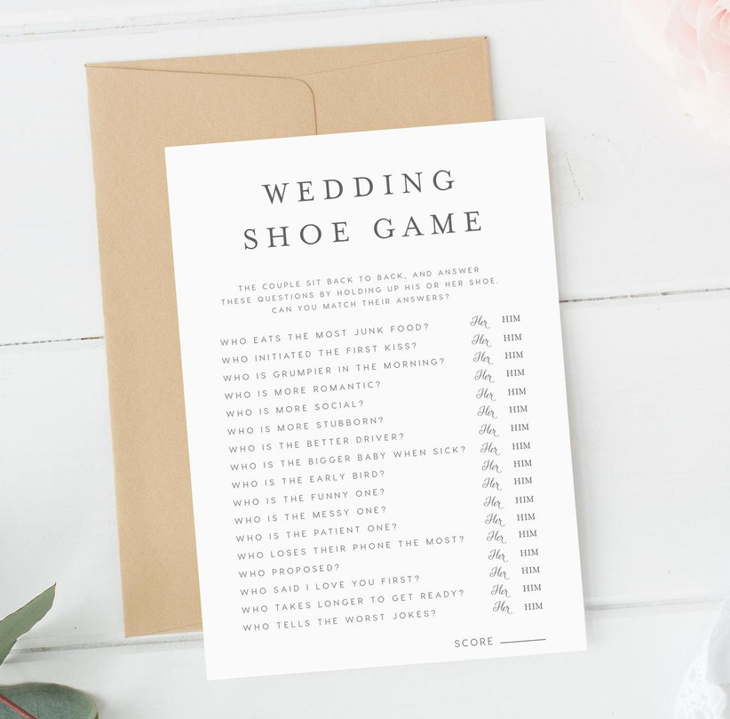 printable wedding shoe game card