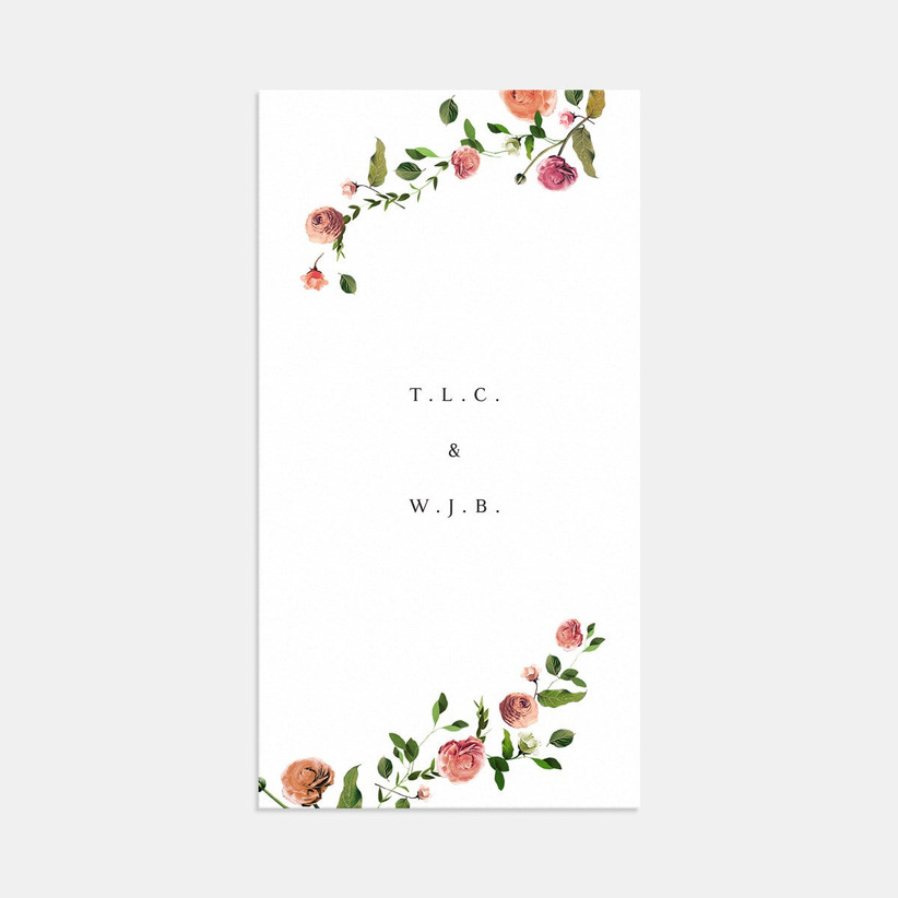 romantic summer wedding invitation with rose and greenery print