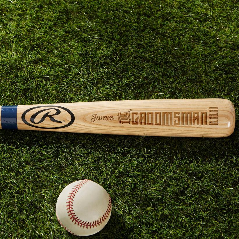 Personalized groomsman baseball bat proposal gift