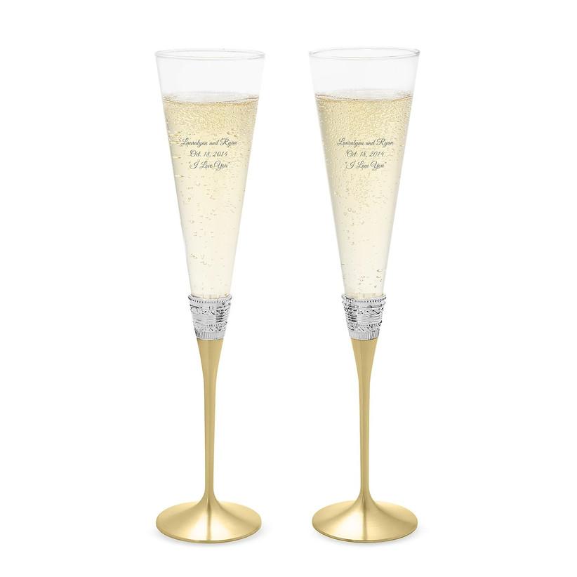Gold-stemmed wedding champagne flutes