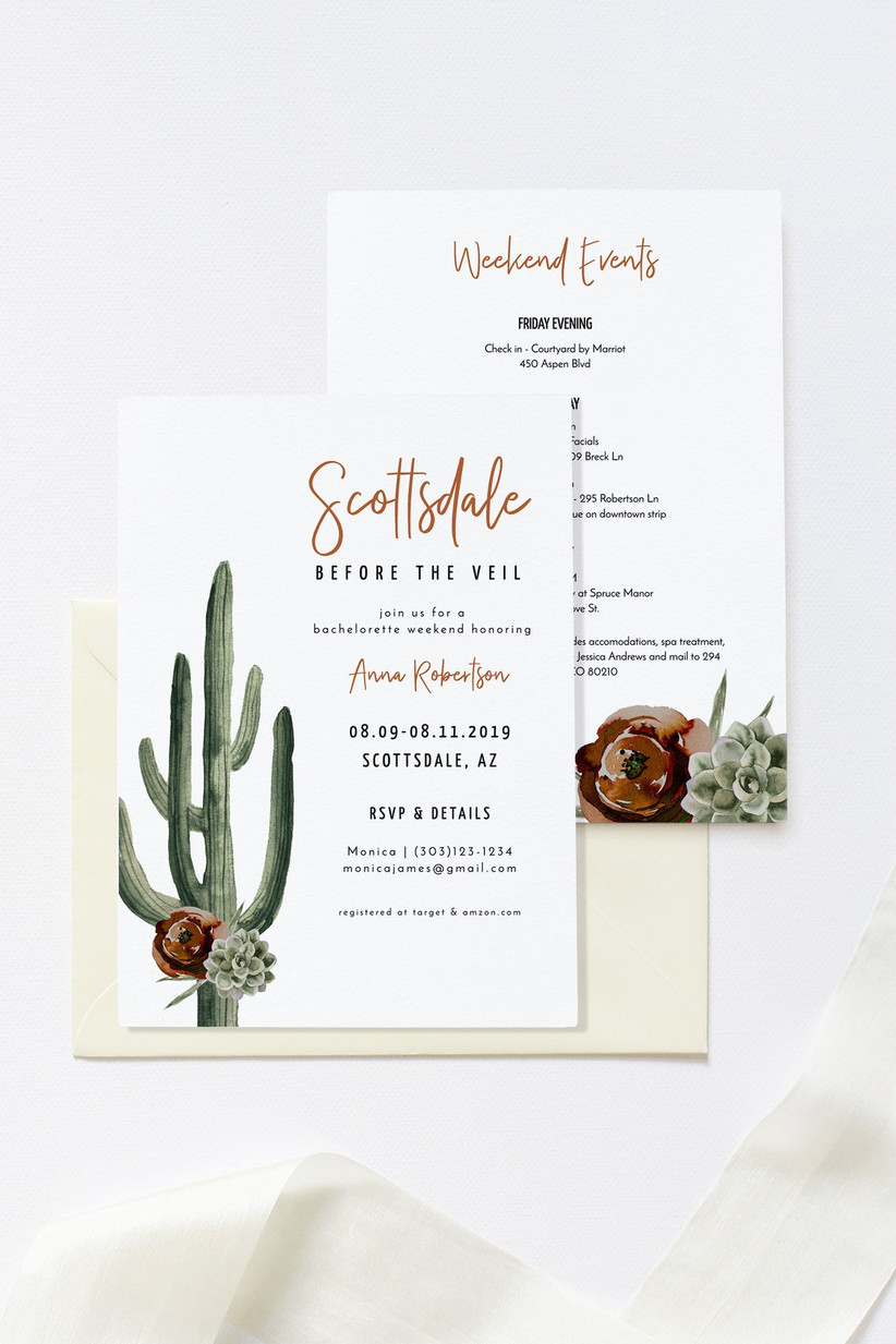 Scottsdale Before the Veil elegant bachelorette party invitation
