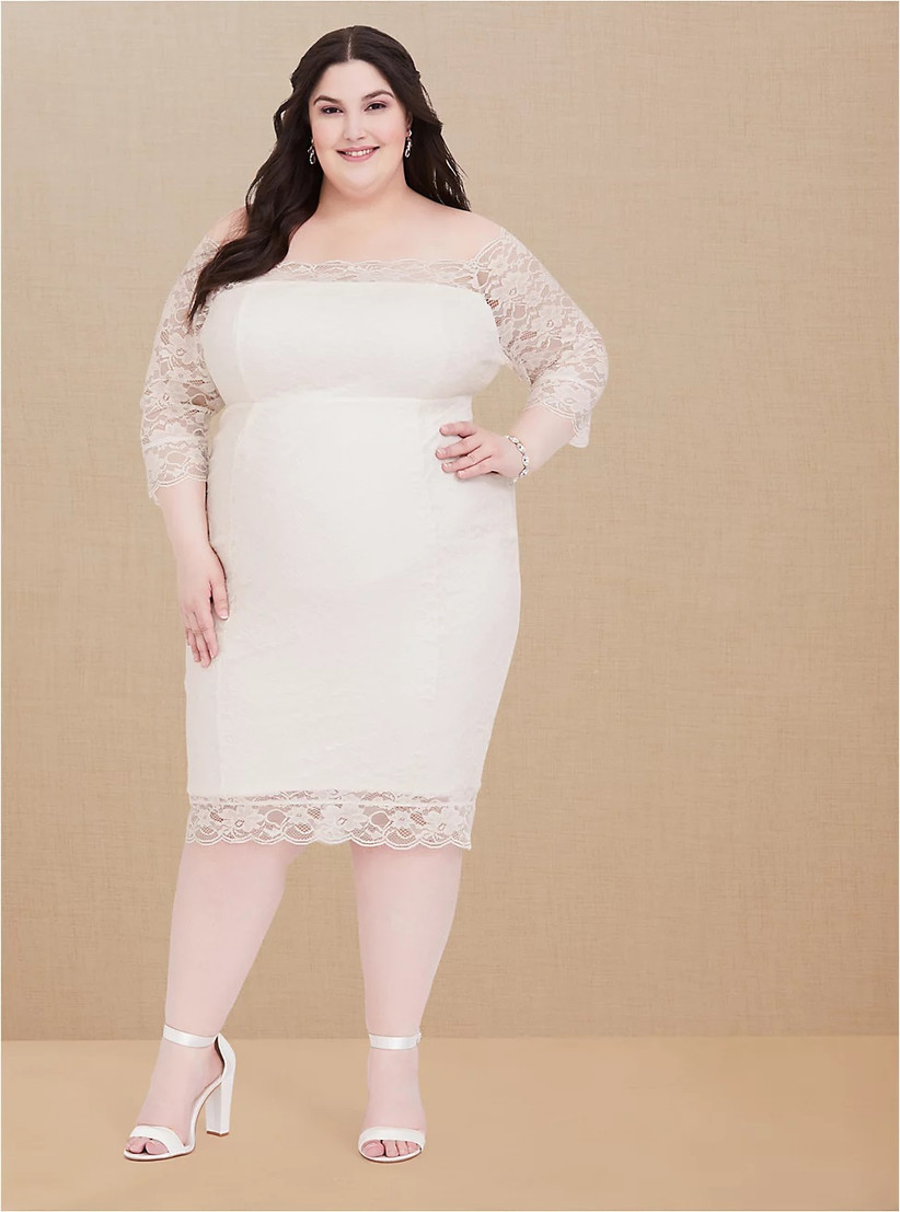 Plus-size ivory lace rehearsal dinner dress