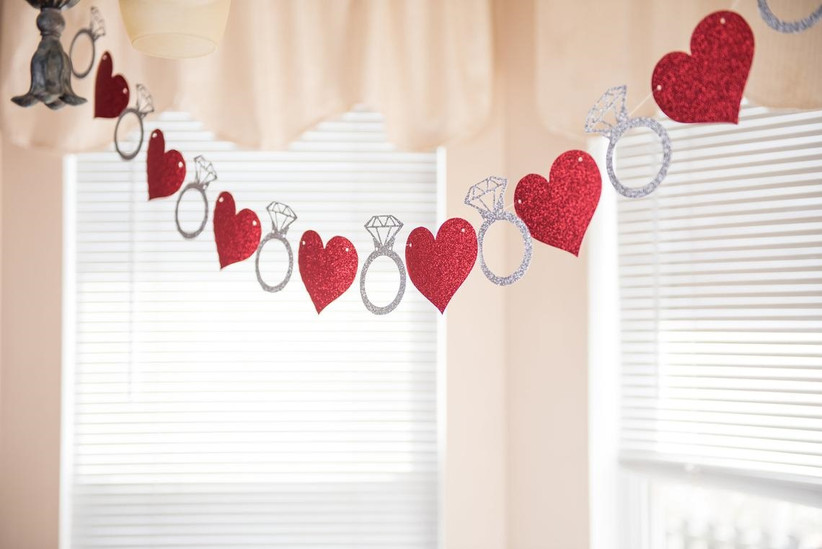 Red hearts and silver engagement ring sparkly engagement party banner