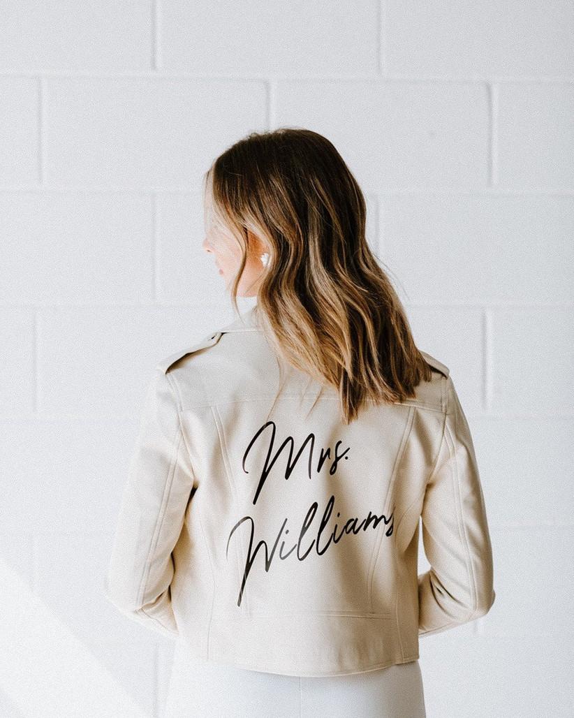 white leather moto jacket with