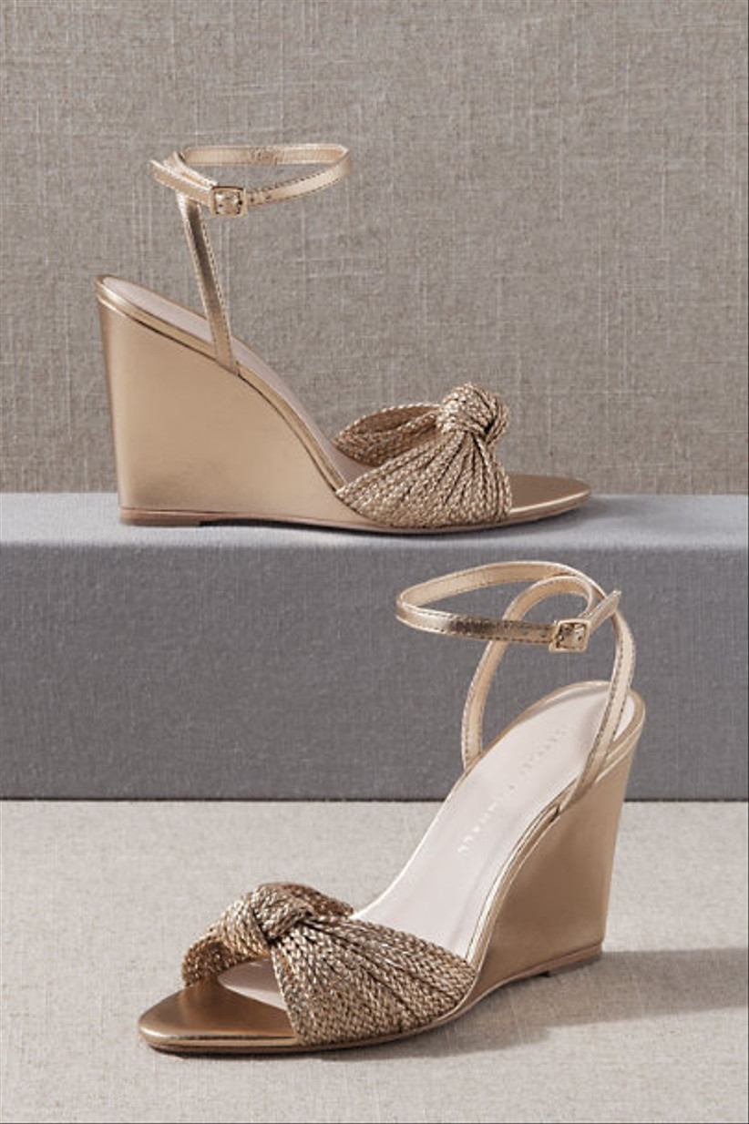 Wedding Guest Shoes gold wedges