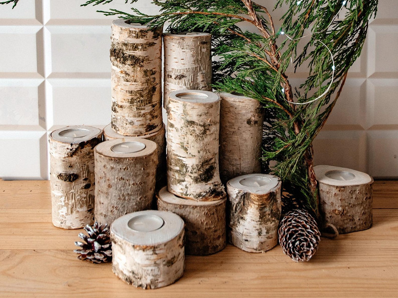 Rustic birch candle holder set