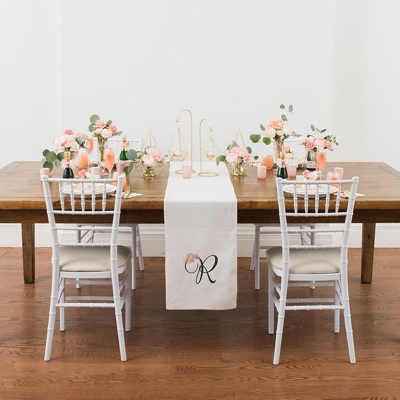 Rustic elegant tablescape with monogram linen runner