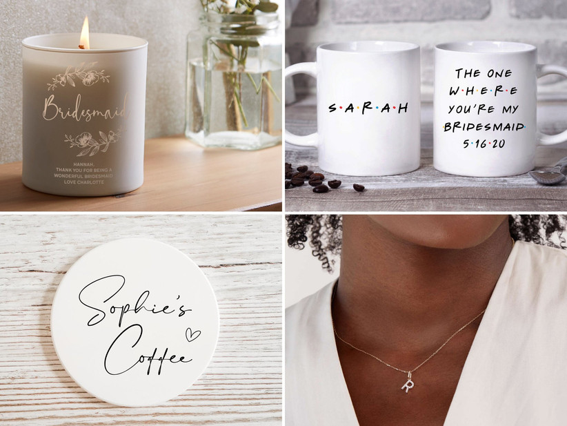 Collage of four bridesmaid gift ideas including candle, mug, coaster, and necklace