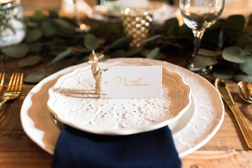 gold figurine wedding place cards