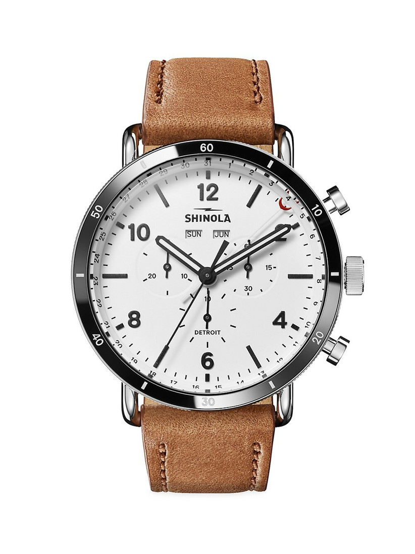 Shinola sport engagement watch with leather band, white dial, and stainless steel case
