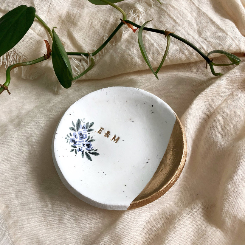 custom engagement ring dish with monogram