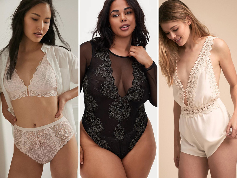 Wedding night lingerie matching set, bodysuit, and romper