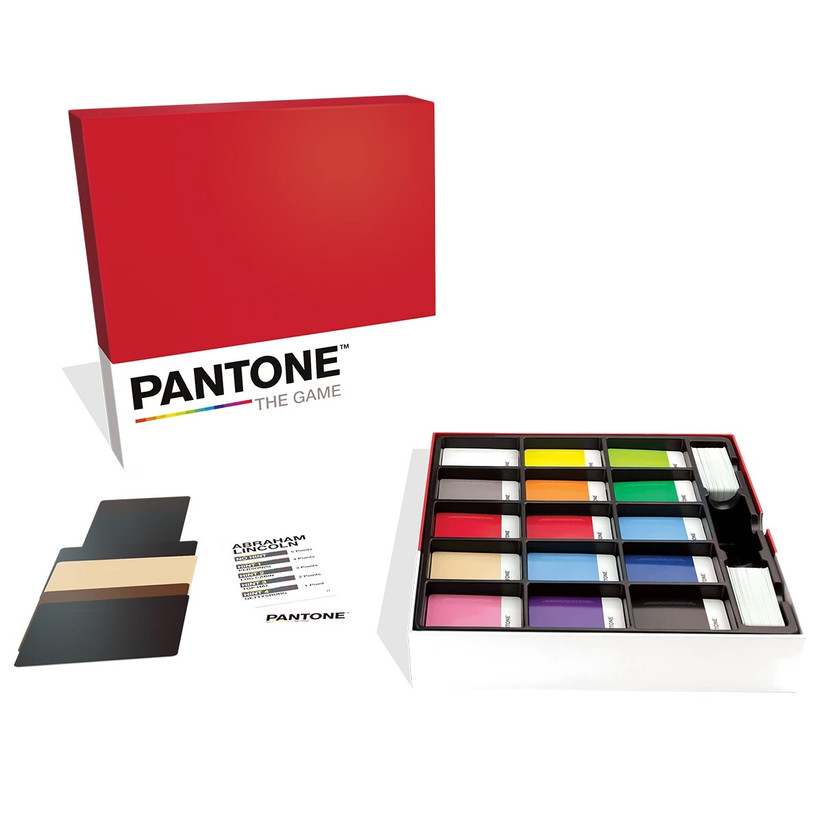 Pantone: The Game showing color swatches inside the box and Abraham Lincoln character card