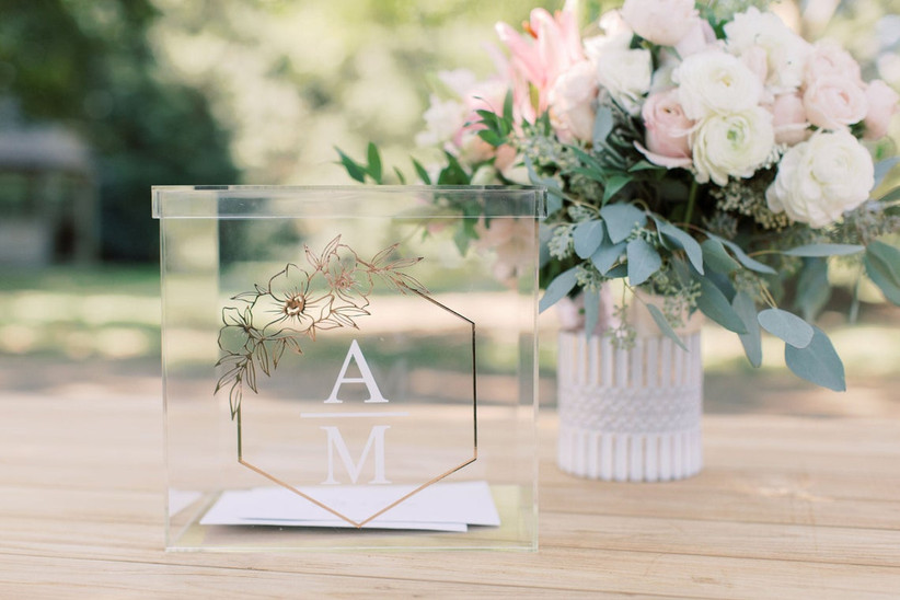modern wedding card box clear acrylic box with floral rose gold and white monogram on the front