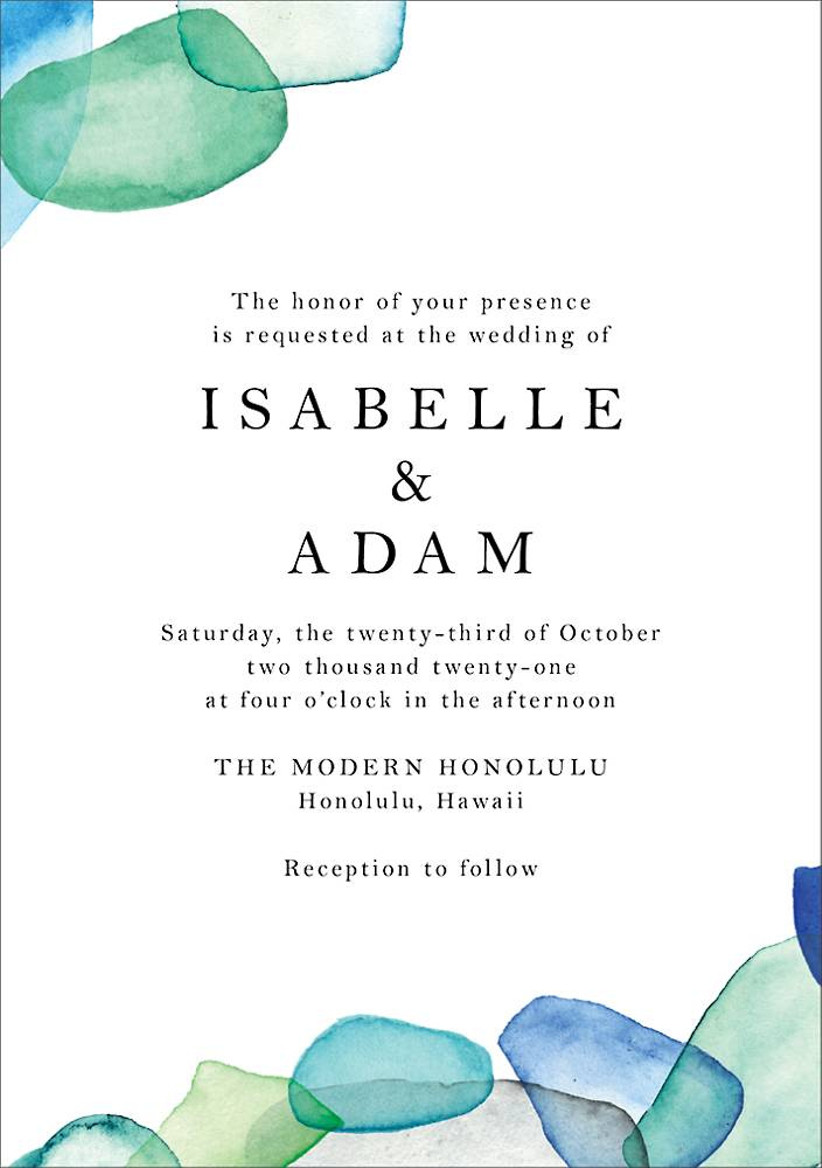 beach summer wedding invitation with blue and green sea glass watercolor border