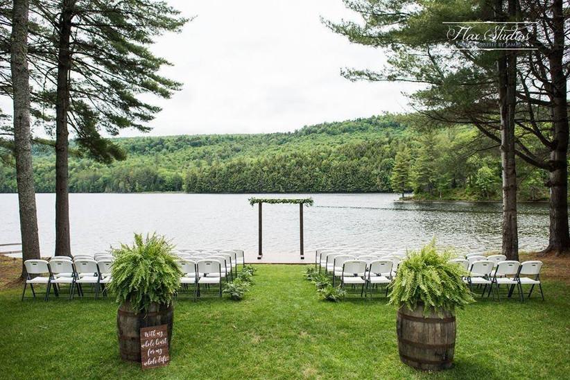 wedding ceremony with lake views