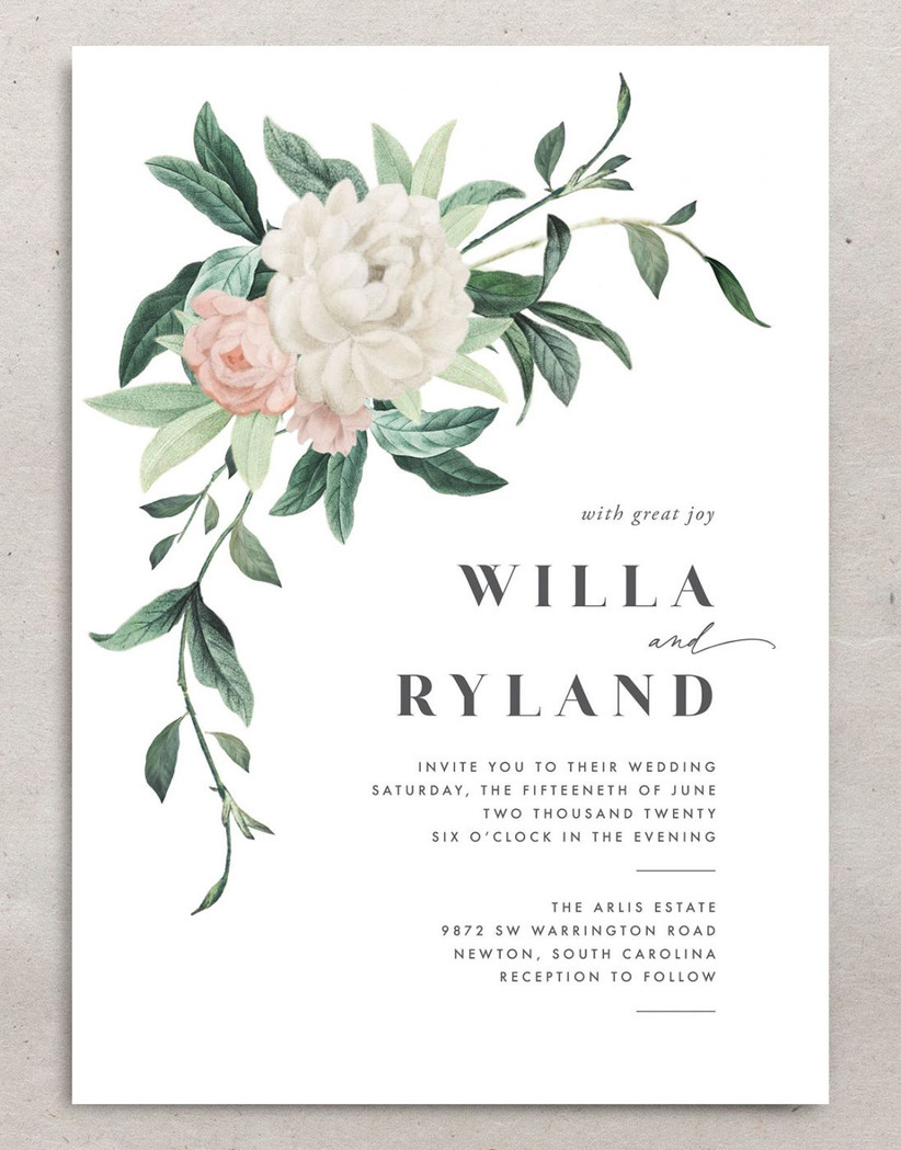 classic spring wedding invitation with watercolor peony and greenery vine painting