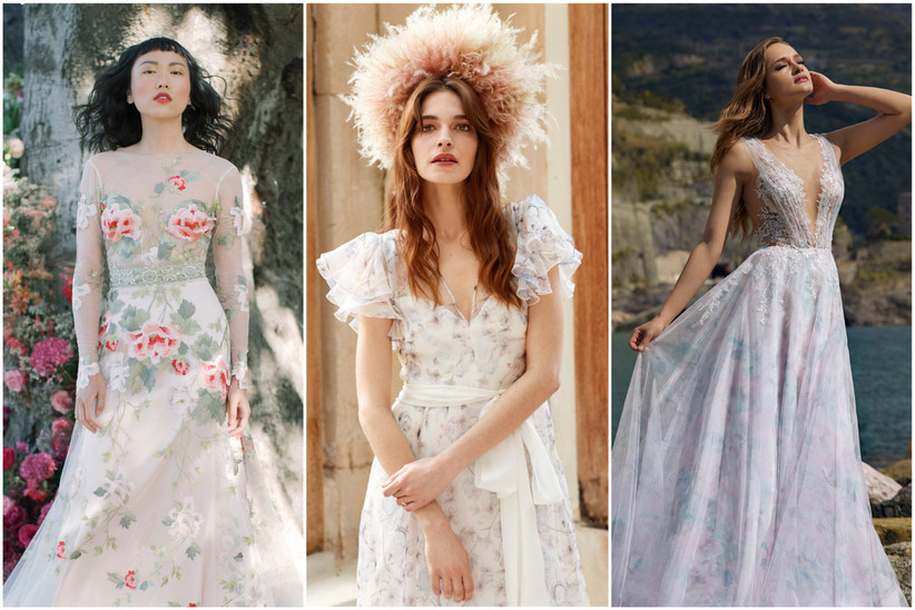 image collage of colorful 2022 wedding dresses with floral prints and embroidery