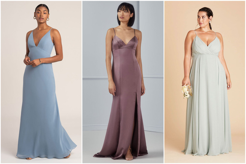 Three models pose while wearing various empire-waist bridesmaid dresses