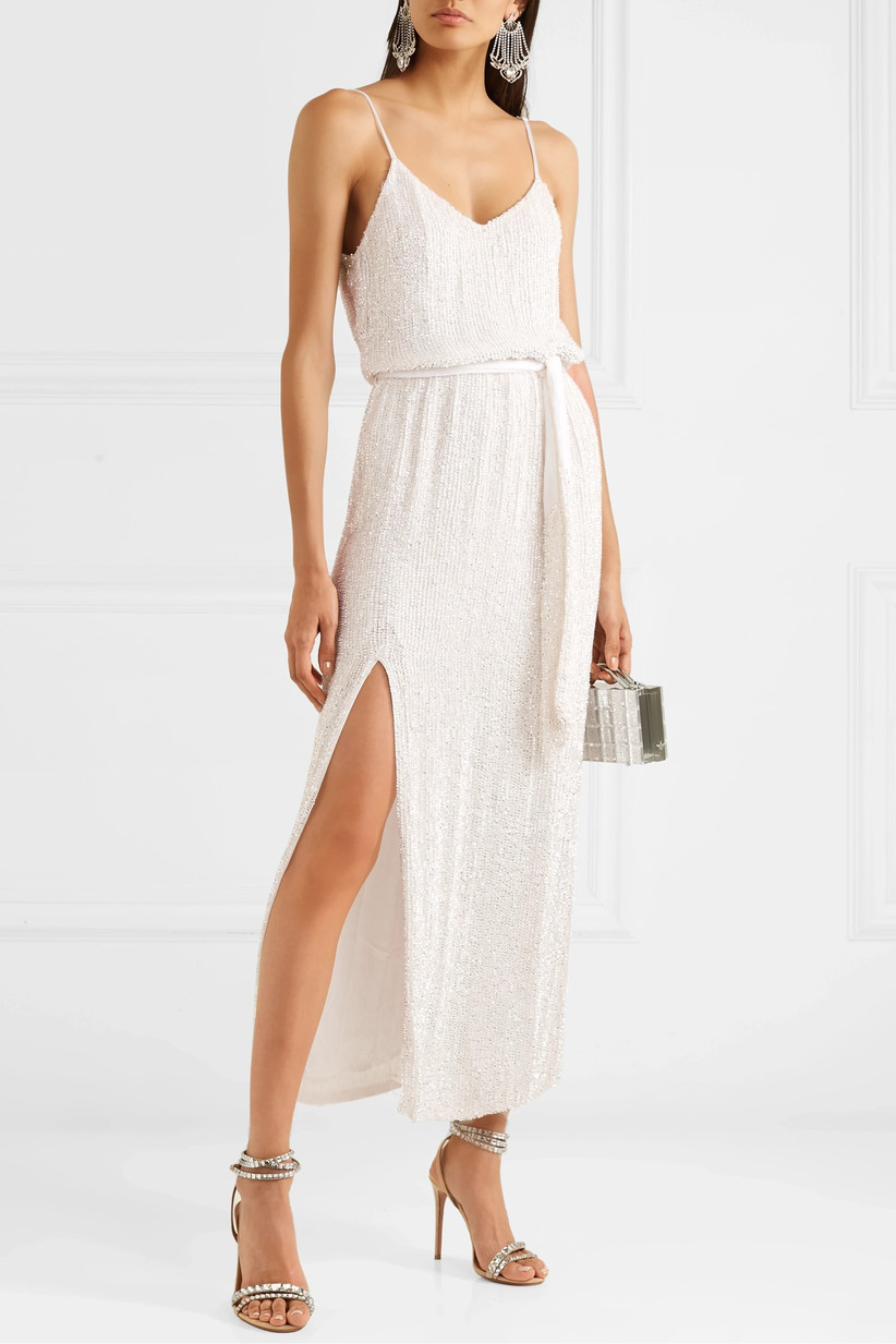Velvet-trimmed white chiffon rehearsal dinner dress