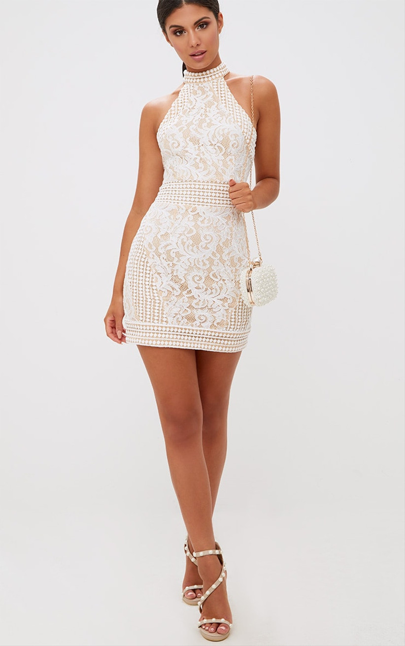 high-neck bachelorette party dress with crochet lace