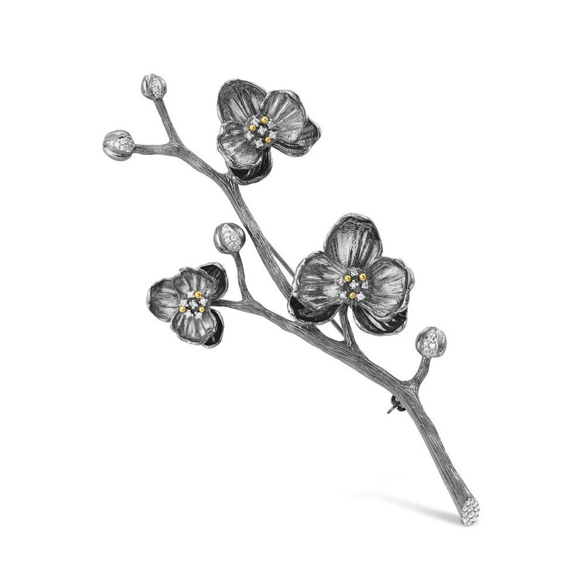 michael aram orchid brooch with diamonds for 14th year wedding anniversary gift