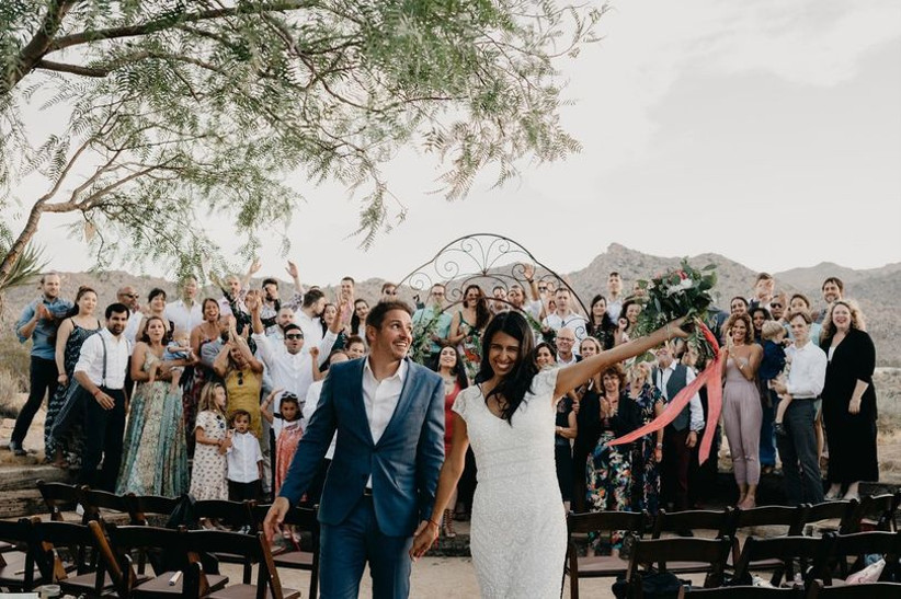 couple recessional at outdoor wedding