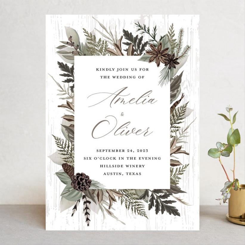pinecone winter wedding invitations