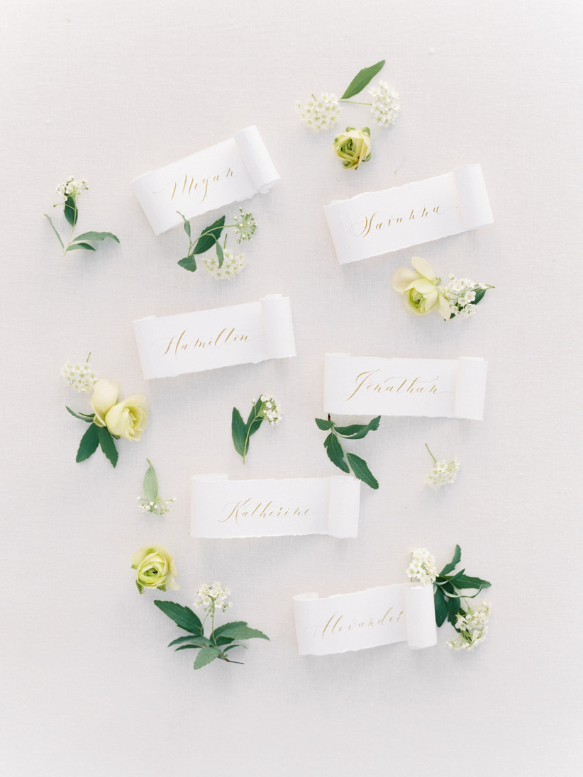 calligraphy scroll wedding place cards