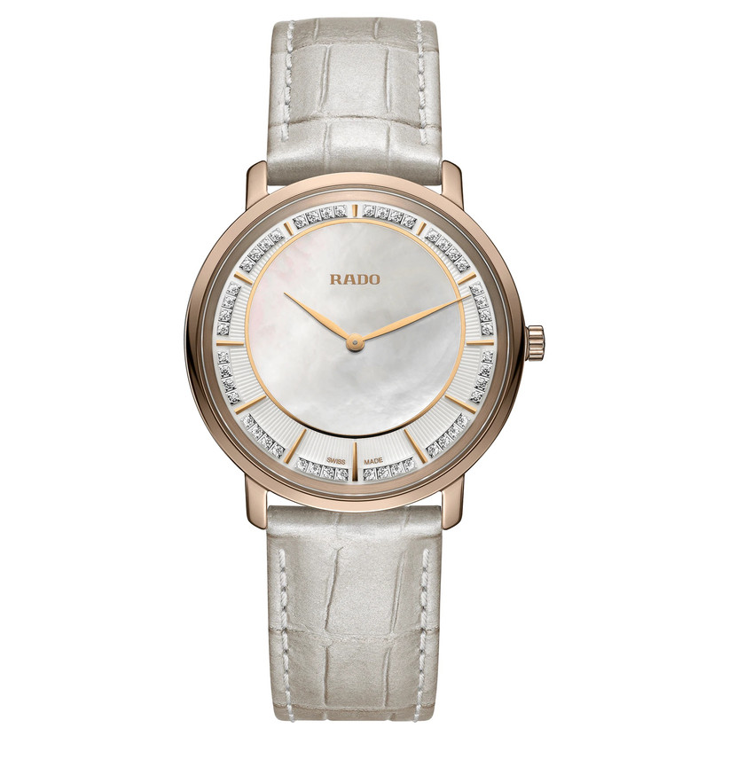 Soft leather-band engagement watch with mother-of-pearl dial and diamond accents