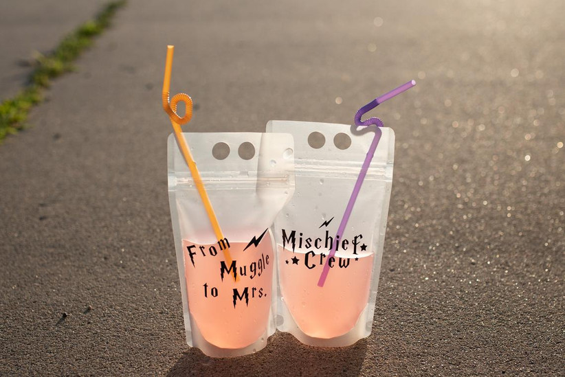 reusable plastic drink pouches that say