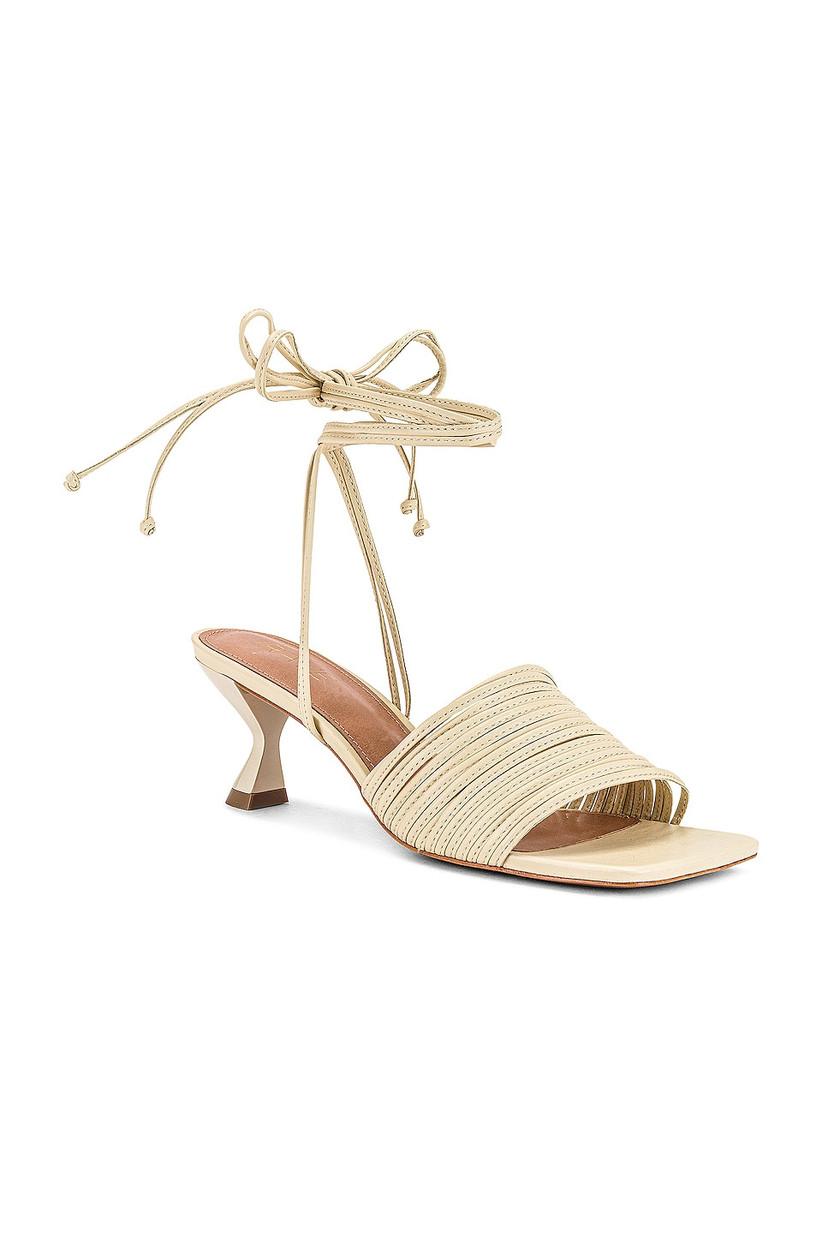 modern beach wedding heel kitten heel white leather with thin straps and ankle tie