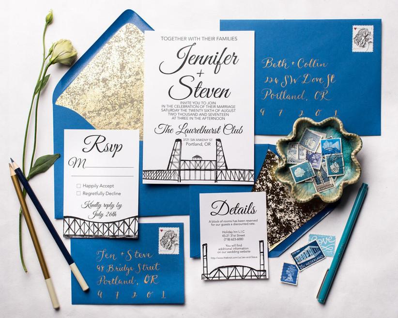 Illustrated city skyline Portland wedding invitation suite
