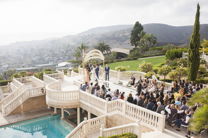 outdoor wedding ceremony with scenic california views