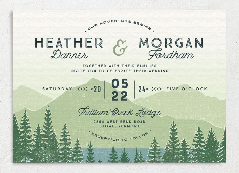 rustic summer wedding invitation with green mountain and forest background