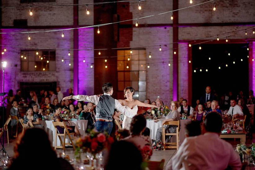 wedding reception couple dancing