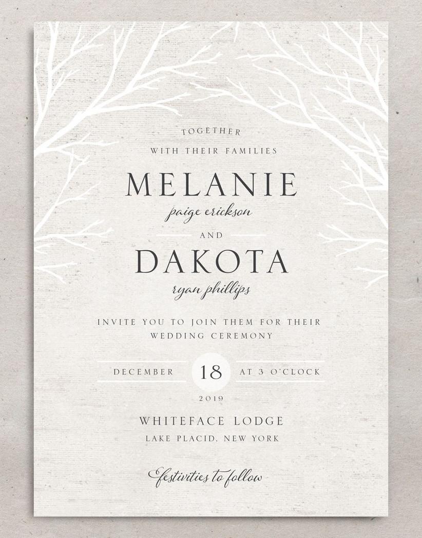rustic winter wedding invitation with birch branches border