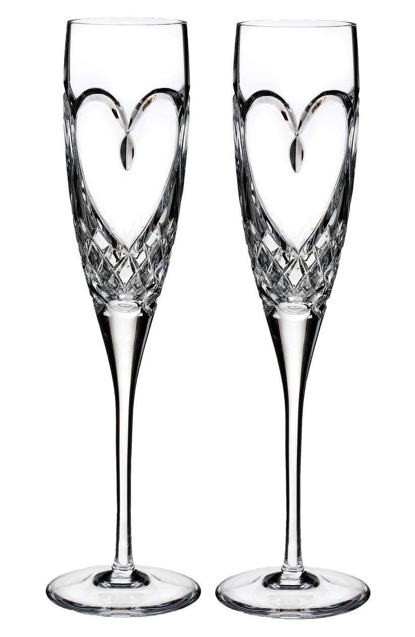 Waterford crystal wedding champagne glasses with heart design