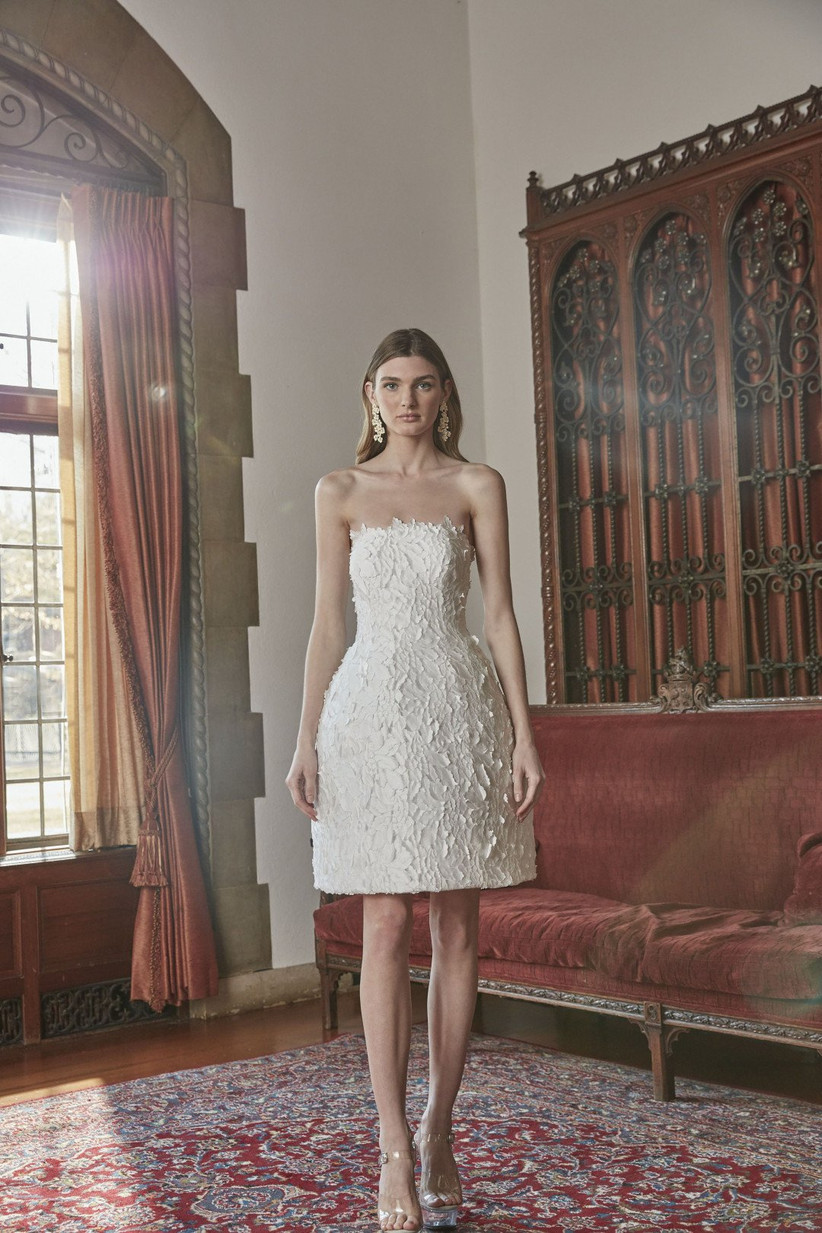 short strapless wedding dress with floral appliques