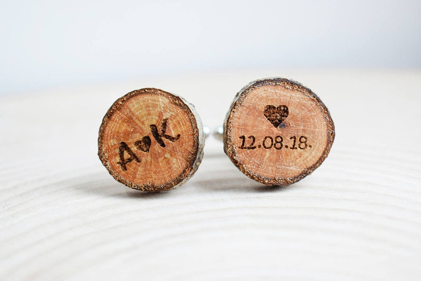Round oak cuff links engraved with couple's initials on one and date on the other