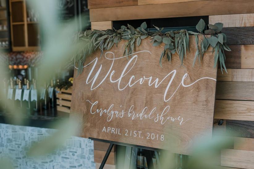 wooden bridal shower sign