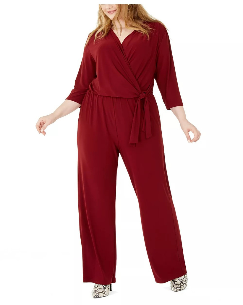 Burgundy jumpsuit for casual fall wedding