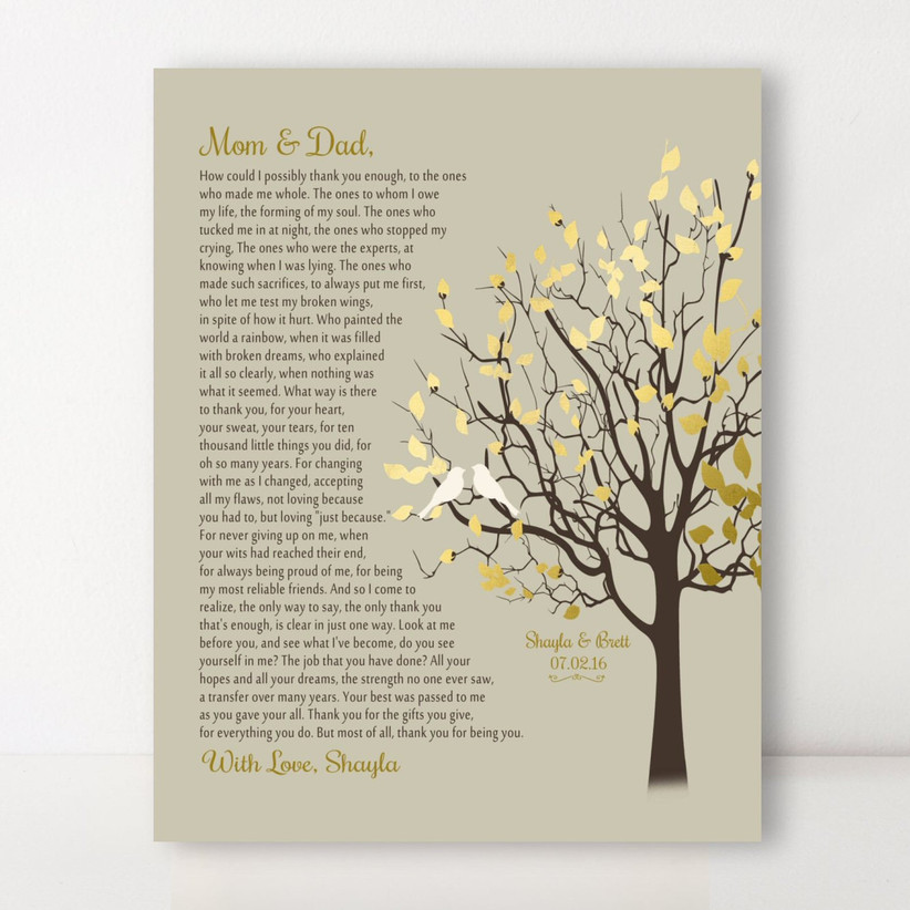 Sweet personalized poem on canvas wedding gift for parents
